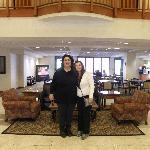Hotel lobby with best friend Teri