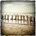 Yoga group on beach