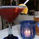 Drinks - blackberry margarita & beer