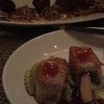 Tuna lollipops and pork belly bites