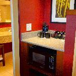 Nice alcove for coffee pot and mini-fridge.