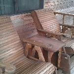 Backporch rocking chairs for morning coffee, evening drinks or just watching the wildlife and be