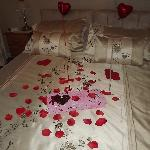 Bed With Valentines Decorations