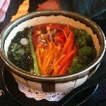 Noodle soup with fresh veggies
