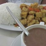 fish & tofu rice with hot choco