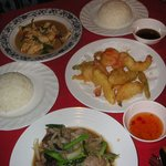 Beef With Oyster Sauce, Deep Fried Prawns and Chicken Curry
