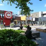 Shops & Businesses relocated to customised shipping containers after the earthquakes.