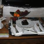 cake, champers and fruit