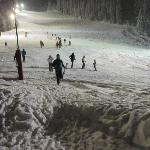 night skiing on the red run outside the hotel