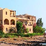Hotel building near lagoon