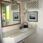 The bathroom (shower) at Meadowlark Inn by Solvang.