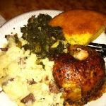 new years food! greens, potatoes, cornbread & chicken.