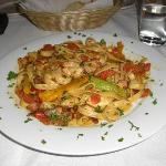 Pasta Creole with shrimp and oysters.