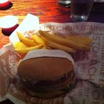 Boca burger with fries.