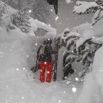 chalet entrance - boots & skis stored just inside.