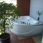 minisuit: view of the jacuzzi on the balcony