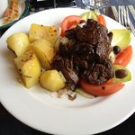 chicken liver with baked potatoes and endives