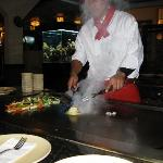 Teppanyaki chef starting our meal.