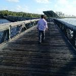 Walking to the beach via boardwalk