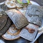 Vintage buckles and leather snap straps.