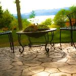 The Orion Suite's Private Courtyard with BBQ, Firepit and Stunning Lake Mayfield Views