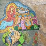 mural inside the church showing the native rock