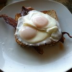 Ted's Poached eggs on wheat