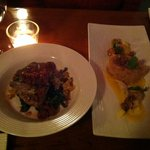 Quail (left) and tuna tartare