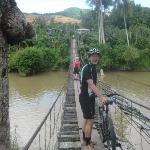 crossing a suspension bridge
