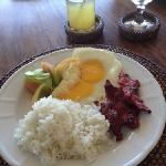 lovely filipino breakfast. notice native woven place settings.
