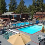 Our pool on a gorgeous, Lake Tahoe day.