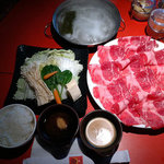 Regular kelp broth, large Kobe-style beef Shabu Shabu ($14.99 for lunch)
