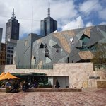 View of the cafe in Federation Square