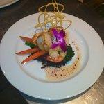 pétoncles crevettes à l'huile de fleur