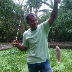 Ketut with a fish we ate.