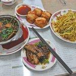 Braised pork belly w/preserved vegetables, shrimp toast, Singapore style fried vermicelli