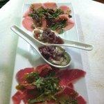 Tuna carpaccio , Beef carpaccio and oysters !