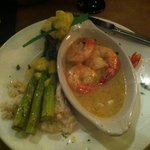 shrimp scampi, parmesan risotto and asparagus