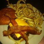 bacon cheese burger with curly fries