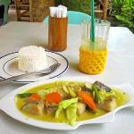 Fish Curry with rice and Calamansi Juice