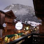 View of Morzine town from upstairs balcony