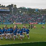 The French team warming up at North Harbour Stadium