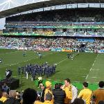 A band plays during the lead up to the match