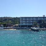view of the hotel from the catamaran