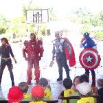 Superhero show for the kids outdoors