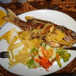 Crispy baby snapper with garlic sauce