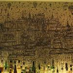 Fun bar area, with interseting backdrop.