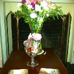Fresh flowers and chocolate in our suite.