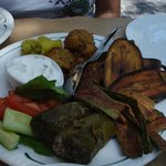 Fried vegetables and Dolmades