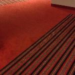 Estonian motives on carpets in the corridors.